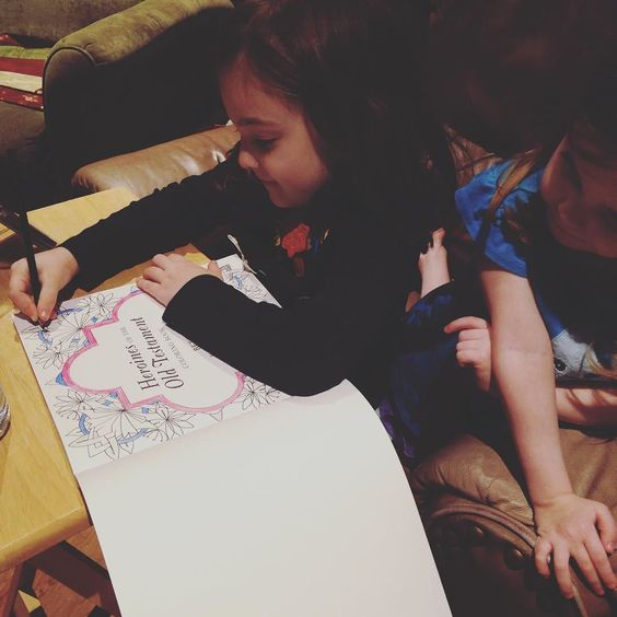 I started in my new #adultcoloring book. I walked out to tend to a baby and came back to find AppleBlossom had taken over. #biblestories @jerichobooks @faithwordsbooks