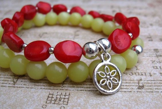 Strawberry Lemonade Set of 2  Red Bamboo Coral & Lemon by WeAre1, $22.00