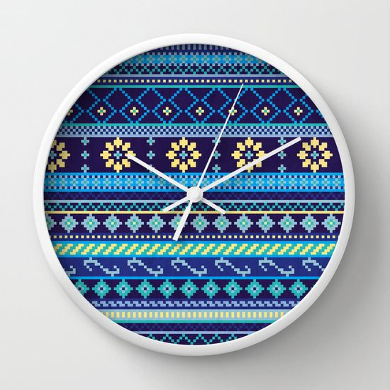 Cheery Blues Geometric Pattern Wall Clock