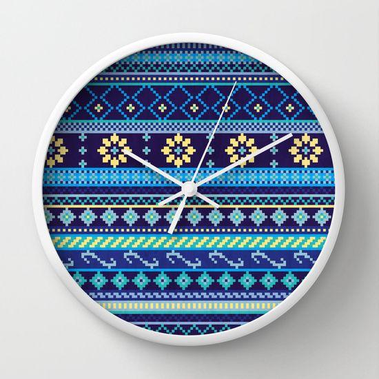 Cheery Blues Geometric Pattern Wall Clock