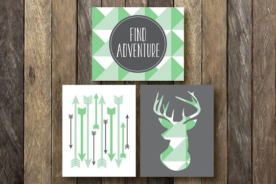 Geometric Print Set - Printable 8x10 - Green Wall Decor - Find Adventure Print - Tribal Nursery - Mint and Green - Geometric Wall Decor on Etsy, $14.24