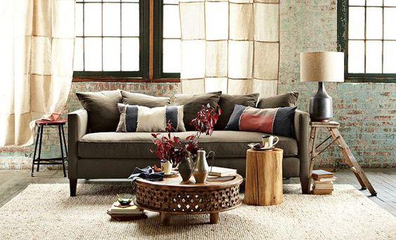 Neutral Living Room Ideas | west elm....I like the curtains