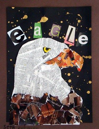 Bald Eagle Collage, beautiful and could be used with a paper outline for starters to make it simpler