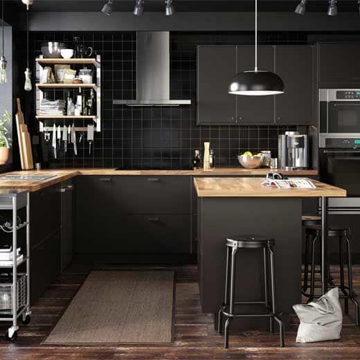 Counter Example Way Too Dark Cuisine Ikea Kungsbacka Brun Noir