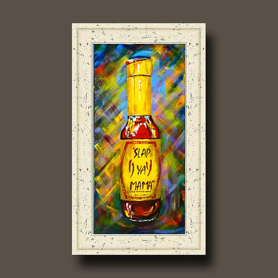 Awesome Sauce - Slap Ya Mama! -ORIGINAL PAINTING, FRAMED, Louisiana Art, Crystal Hot Sauce, Original by Louisiana Artist, Dianne Parks: