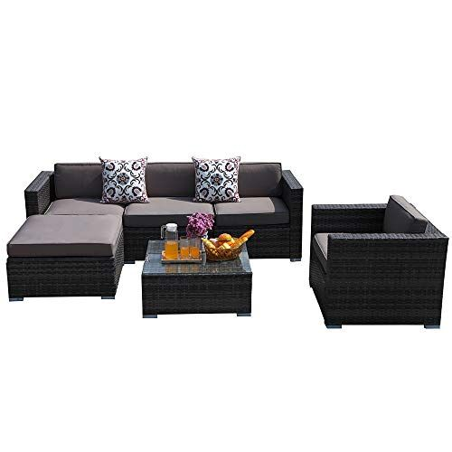Patiorama Outdoor Furniture 6 Piece Patio Sectional Sofa Set With
