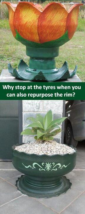 Flower planters made from old tires and the rim trash - Planters made from old tires ...