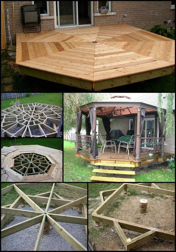 Shape places and the o 39 jays on pinterest for How to build an octagon deck