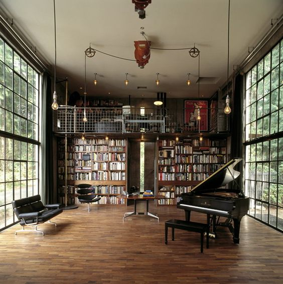 everything about this room !!!! especially the piano and the windows well walls i guess