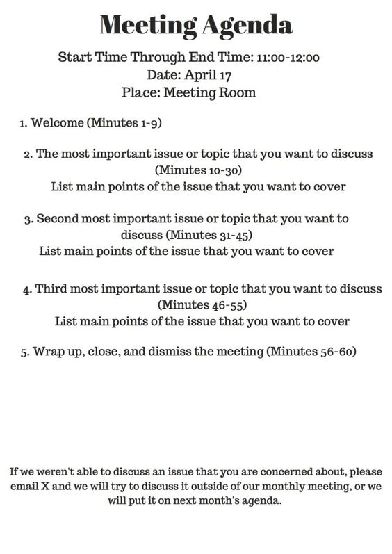 The answers to the initial questions u2014 u201cWhy have this meeting - preparing meeting agenda