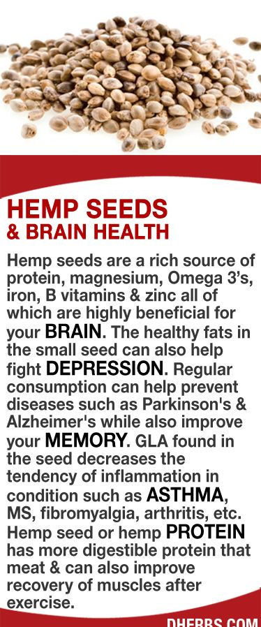 Hemp seeds are a rich source of protein, magnesium, Omega 3's, iron, B vitamins & zinc all are highly beneficial for your brain. The healthy fats in the small seed can also help fight depression. Regular consumption can help prevent diseases such as Parkinson's & Alzheimer's while improving your memory. GLA found in the seed decreases inflammation in asthma, MS, fibromyalgia, arthritis, etc. Hemp seed has more digestible protein that meat & can improve recovery of muscles after exercise. #dh...: