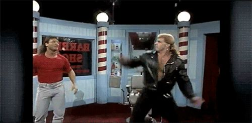 Image result for shawn michaels marty jannetty barber shop gif