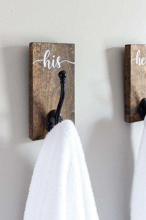 Diy His And Hers Towel Hooks Towel Hooks His Hers Towels Bathroom Towel Hooks