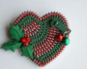Holly Christmas Zipper Brooch..made from recycled zippers