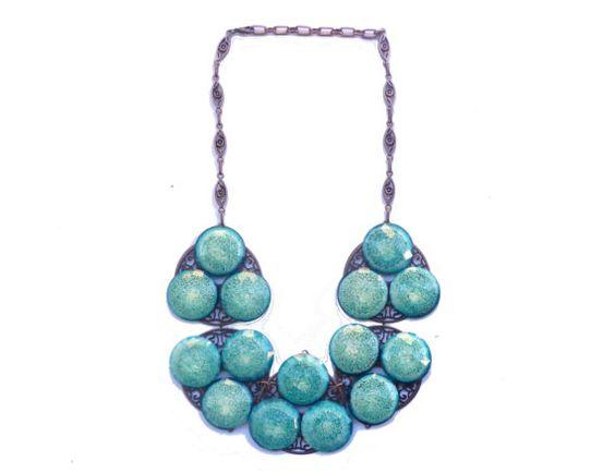 NECKLACE COLOR BLOCK turquoise big collana grande di SissiHand