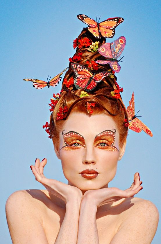 butterflies.  hair, eyes. makeup  i just love this its pretty and it has butterflies in it