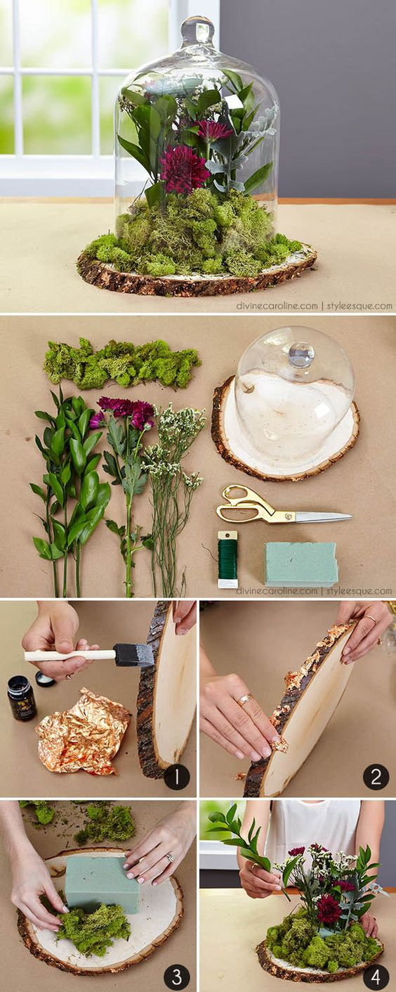 DIY forest and woodland wedding floral centerpieces