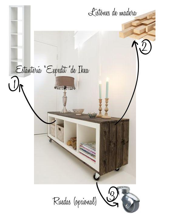 """Transformar estantería """"Expedit"""" de Ikea (Ikea hacks, using Expedit shelving unit), via estilo escandinavo."""