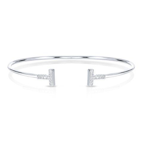 Sterling Silver Double Bar T Bracelet with White Cubic Zirconia >>> Click image for more details.