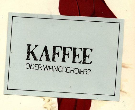 "Postkarte ""Kaffee? Oderweinoderbier?"" // postcard by sentimentaleslied via DaWanda.com"