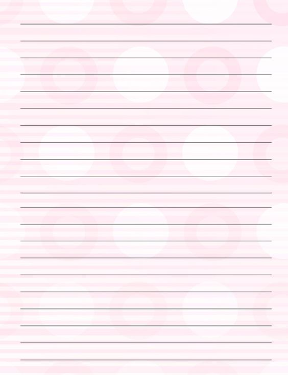 Pink polkadot printable stationary Printable Stationary - college ruled lined paper template