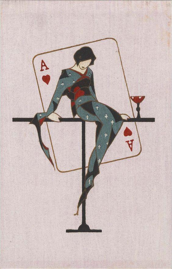 * Ace of Hearts from the series Youth (Kanojo no seishun 彼女の青春 (Her youth))  Japanese Taisho-early Showa era Kobayashi Kaichi 小林かいち (1896-1968) Publisher Sakuraiya