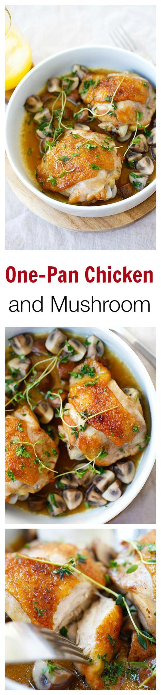 Chicken with Sauteed Mushroom – one-pan chicken with mushroom, all cooked in a pan with wine and chicken broth. So easy, delicious, and budget friendly | rasamalaysia.com