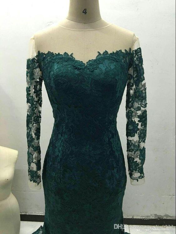 Dark Green Mermaid Long Sleeve Prom Dresses 2016 Real Picture Off Shoulder Zipper Back Lace Long Formal Evening Gowns Vestidos