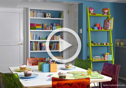 We're sharing a basement redesigned into a colorful playroom by our friends the designers of My Tiny Nest on Project Nursery's YouTube Channel. #playroom
