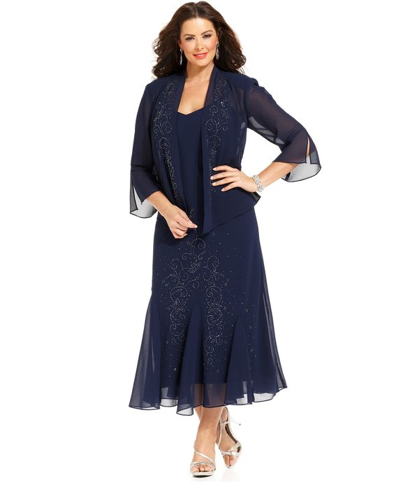 R m richards plus size beaded v neck dress and jacket for Macy wedding dresses mother of the bride