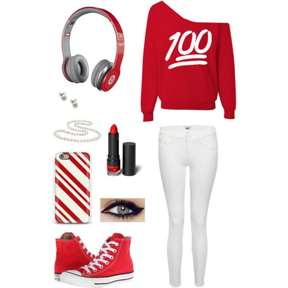 Red and white combo Red beats by dr. Dre candy cane phone case red 100  emoji shirt red lipstick winged eyeliner pearl necklace and earrings red converse Style: Gangsta thug G girl female.     I want it all in blue.