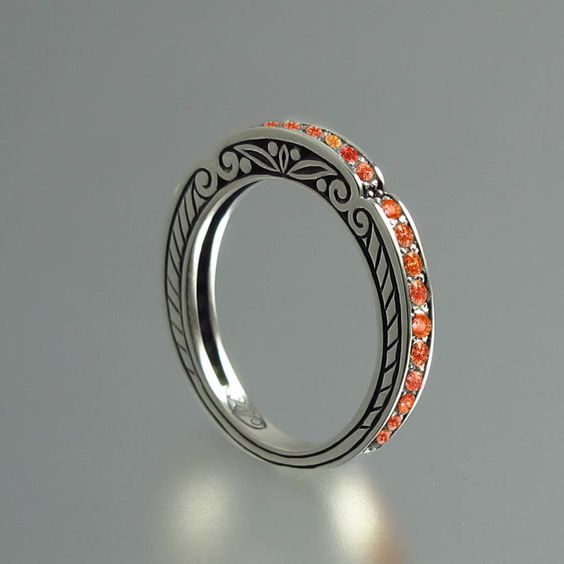 CARYATID band in sterling silver with orange saphires RESERVED for kingjaba