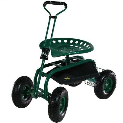 Rolling Garden Cart With Extendable Steering Handle Swivel Seat And Basket Green Sunnydaze Decor Sunnydaze Decor Garden Cart Outdoor Kit