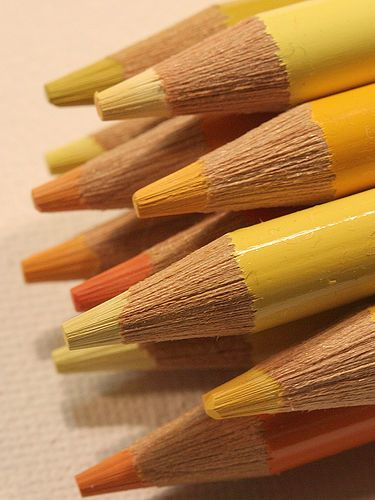pretty pencils in yellows