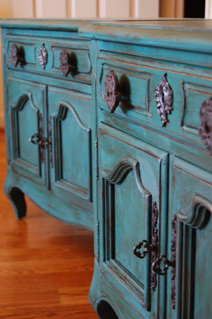 A lovely set of side tables finished in Florence Chalk Paint® decorative paint by Annie Sloan and dark Soft Wax | By Shabby to Chic