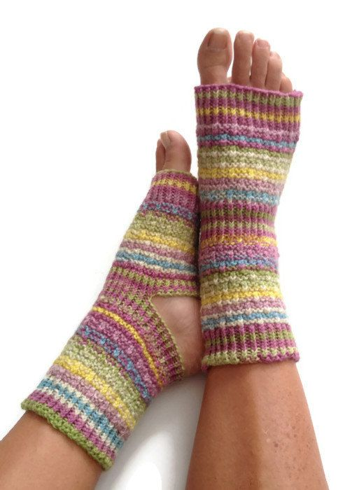 Toeless Yoga Socks Hand Knit in Sporty Stripes Pedicure Pilates Dance Pedic...