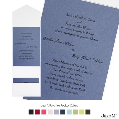 Blue Shimmer Wedding Invitation Card with Pocket from Michaels