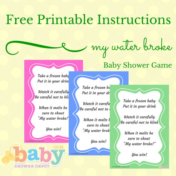 free printable instructions for the my water broke baby shower game