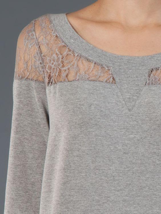 Fillity Blusa Cinza Com Renda. - Fillity - Farfetch.com.br (Diy Shirts Lace)