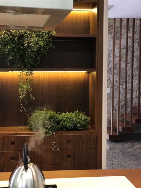 Cozinha com nichos iluminados por led em marcenaria de ipê natural, contrastando com pedras naturais.
