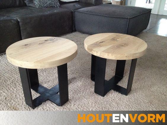 Stoere ronde salontafel van rustiek eiken en staal    Laat u inspireren door onze creaties