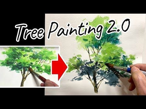 Eng Sub Watercolor Tree Painting Easy Tutorial 2 0 For