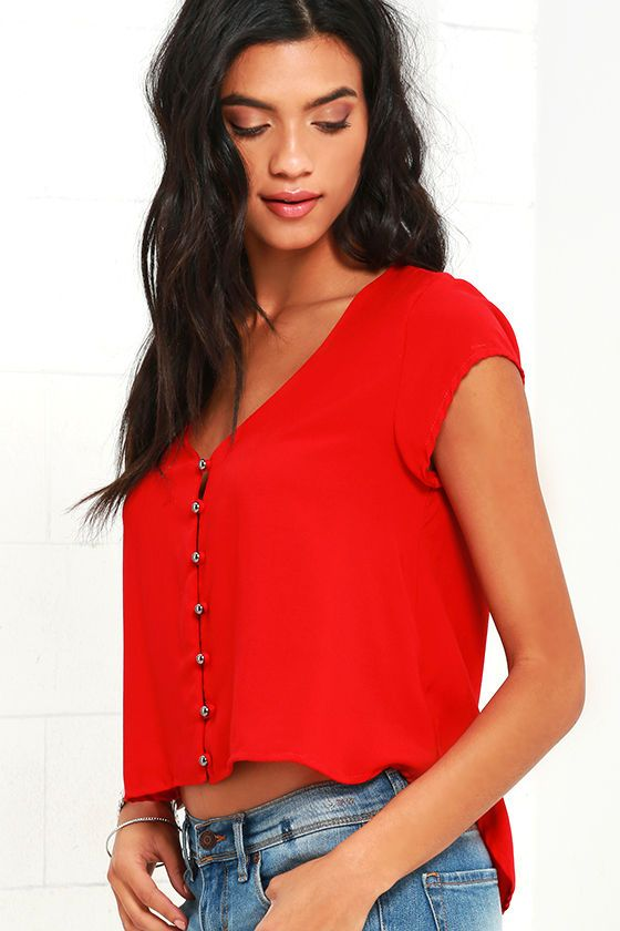 Down to Earth Red Top at Lulus.com!