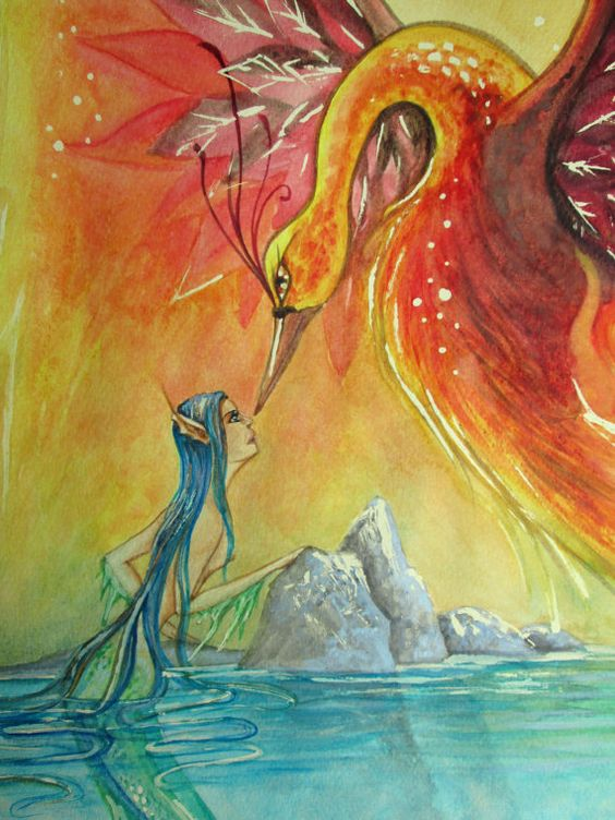 Watercolor on paper 30 x 80 cm The Meeting of Water di NahimaArt  #etsyshop #EtsyGifts #theartofnahima