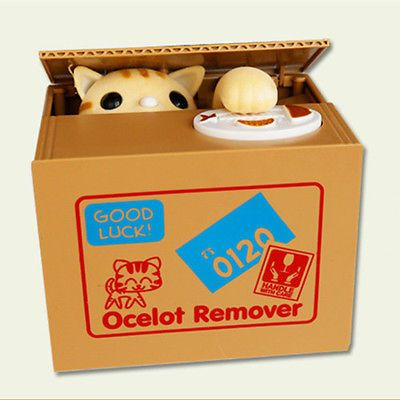 Cute stealing coin #money box cat piggy bank storage #saving box ocelot #remover,  View more on the LINK: http://www.zeppy.io/product/gb/2/161101048055/