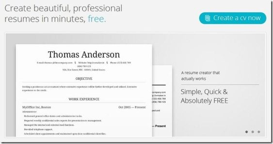 ... Create professional #resumes online for #free with CV Maker Geek -  create a free ...