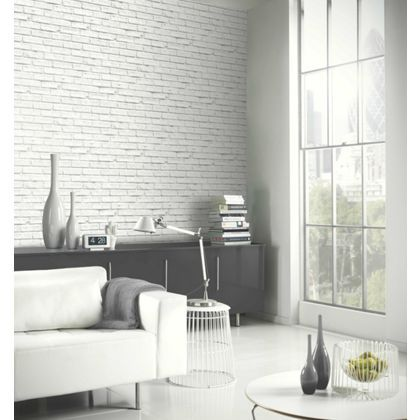 Arthouse Brick Wallpaper - White at Homebase -- Be inspired and make your house a home. Buy now.
