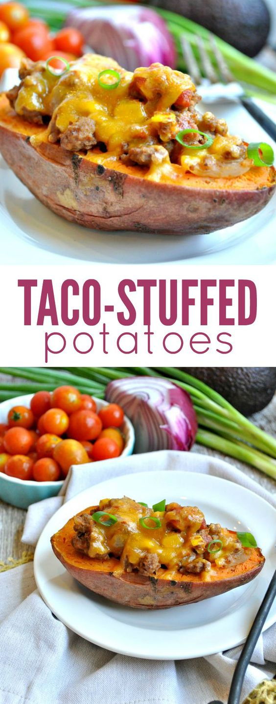 A family-friendly clean eating dinner is ready in about 30 minutes with these delicious Taco Stuffed Potatoes! Whether you use sweet potatoes or russet potatoes, everyone will love this easy make-ahead meal!