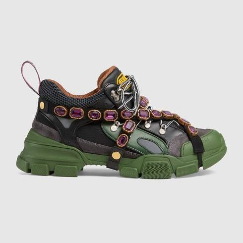 Gucci Flashtrek with Crystals Green