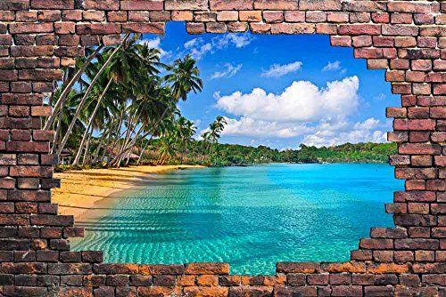 Vinyls tropical and bricks on pinterest for Broken wall mural
